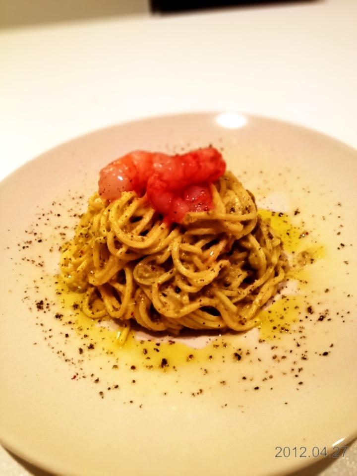 Spaghetti Alla Chitarra Con Pesto Di Pistacchi E Gamberi Rossi
