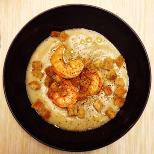 crema di patate e funghi con gamberi unafranciacortinaincucina
