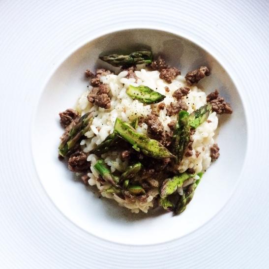 Risotto con asparagi e salsiccia di podolica